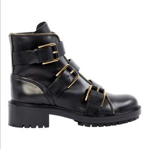 Black Balmain Leather Buckled Ankle Boots With Box